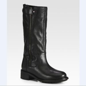 VINCE Justine boots leather motorcycle rabbit